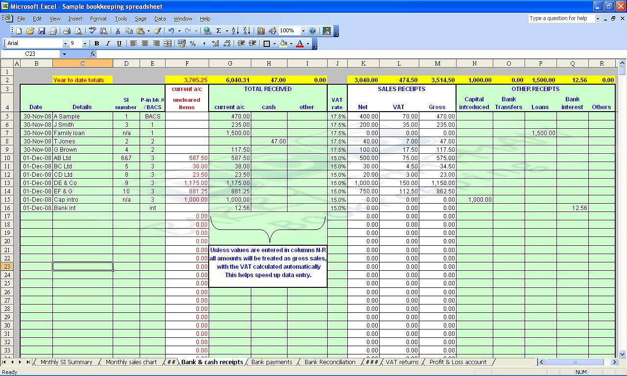 Income, Receipts Spreadsheets Templates